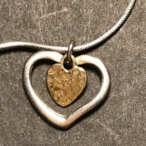 Sterling silver necklace w silver and gold heart